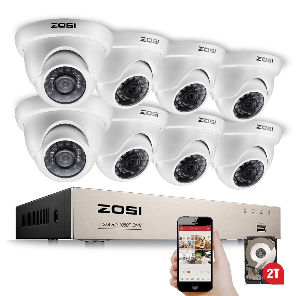 ZOSI 1080 p Caméra de Sécurité Système 8CH CCTV Système 8x2.0 mp Intérieure/Extérieure Système de Surveillance Vidéo Kit alertes De Détection De mouvement