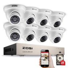 Камера видеонаблюдения ZOSI, 8 каналов, 1080P, 8x2,0 МП, для помещения и улицы