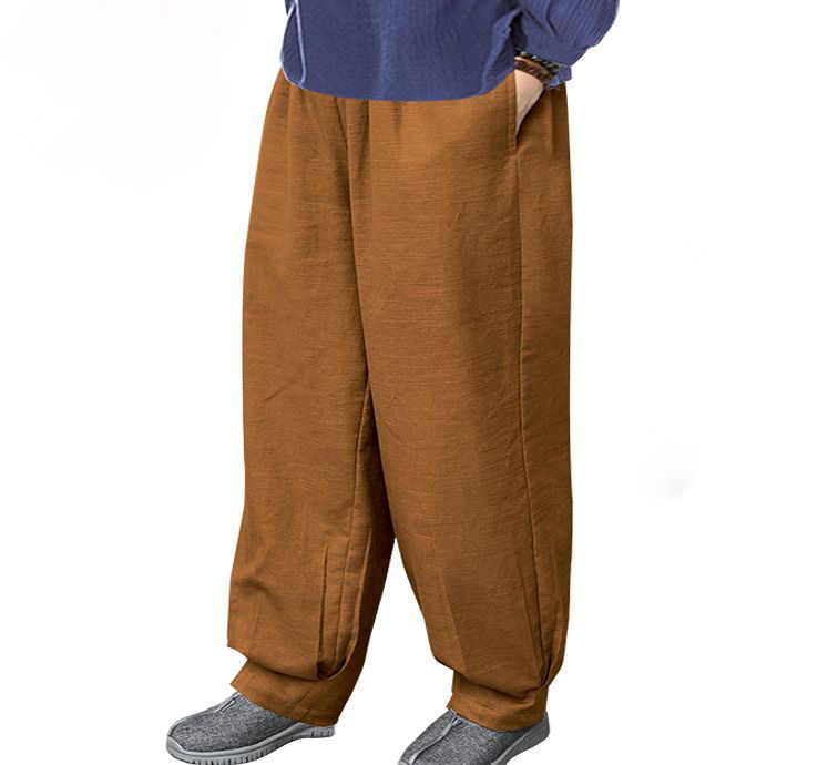 unisex Autumn&Winter thick cotton&linen zen buddhist trousers shaolin monks kung fu pants martial arts bloomers