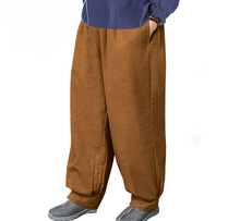 unisex Autumn&Winter thick cotton&linen zen buddhist trousers shaolin monks kung fu pants martial arts bloomers