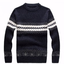 New Cheshanf 2019 Men's Knitted Sweater Patterns Striped Thick Pullover Sweaters Winter Casual Round Neck Wool Sweater Men