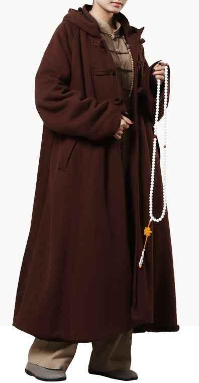 Unisex 4 colores algodón meditación capa bata zen cálido budista monje trajes de nun invierno poner ropa artes marciales manto capa