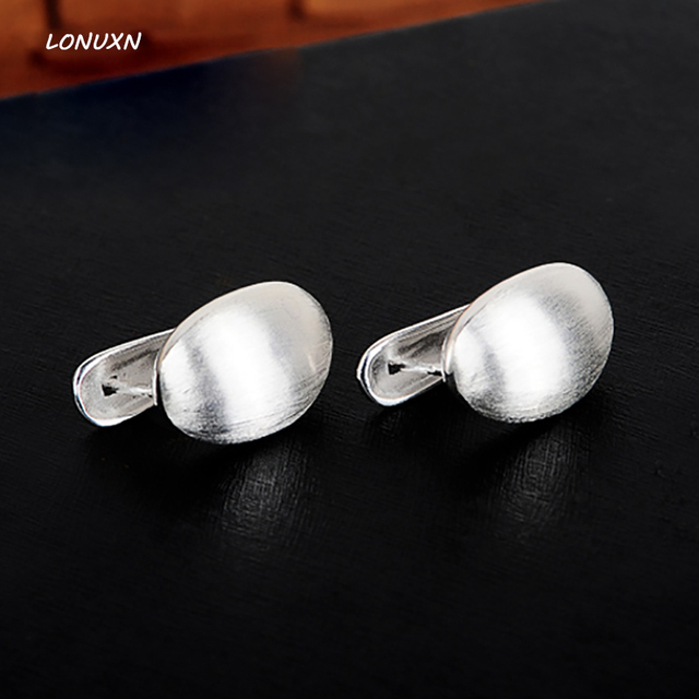 925 Sterling Silver Women Jewelry Bangkok Thailand Earring Silversmith Old Manual Drawing Water Female Ear Clip