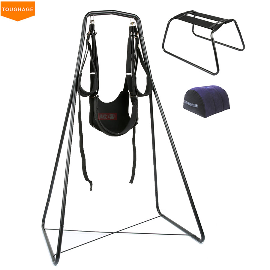 Toughage Luxury Love Sex Swing with Frame & Inflatable Sex Pillow,Hanging Sex Swing Chairs Adult Sex Furniture For Couples free shipping inflatable sex cushion sex machine for female special toys adult sex furniture g spot helpful sex pillow