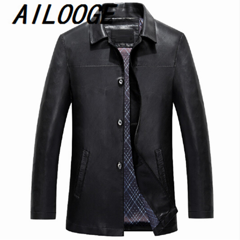 New Autumn Men Leather Jacket High Quality Brand Mens Casual Turn-down collar Thin Leather Jacket Men Plus Size S-XXL