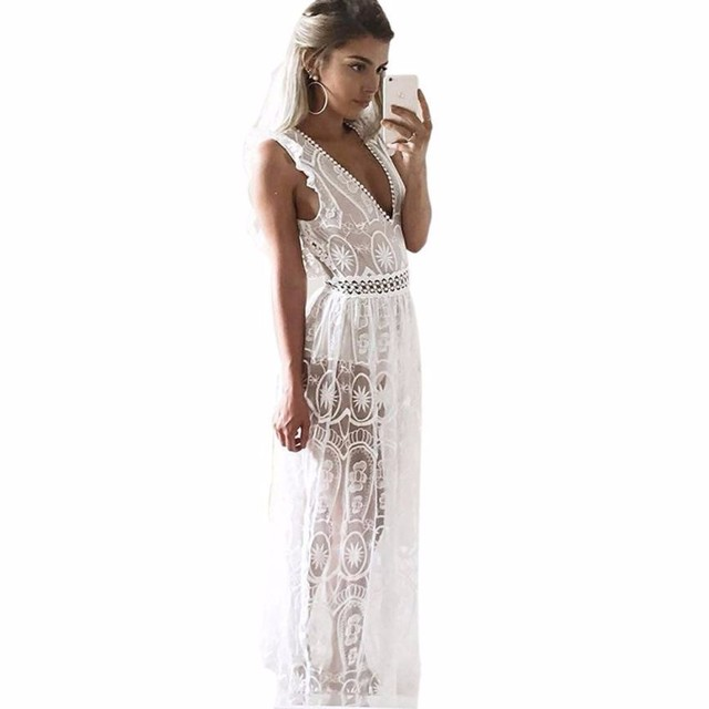 Summer Dress Women Hollow Out Lace Dress Sleeveless Backless Long Maxi Dresses Vestidos Largos De Verano