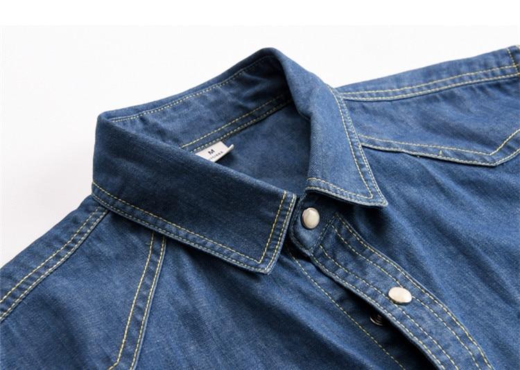 Markenkleidung 100% Baumwolle Herrenhemd Denim Jeans Herrenhemden - Herrenbekleidung - Foto 3