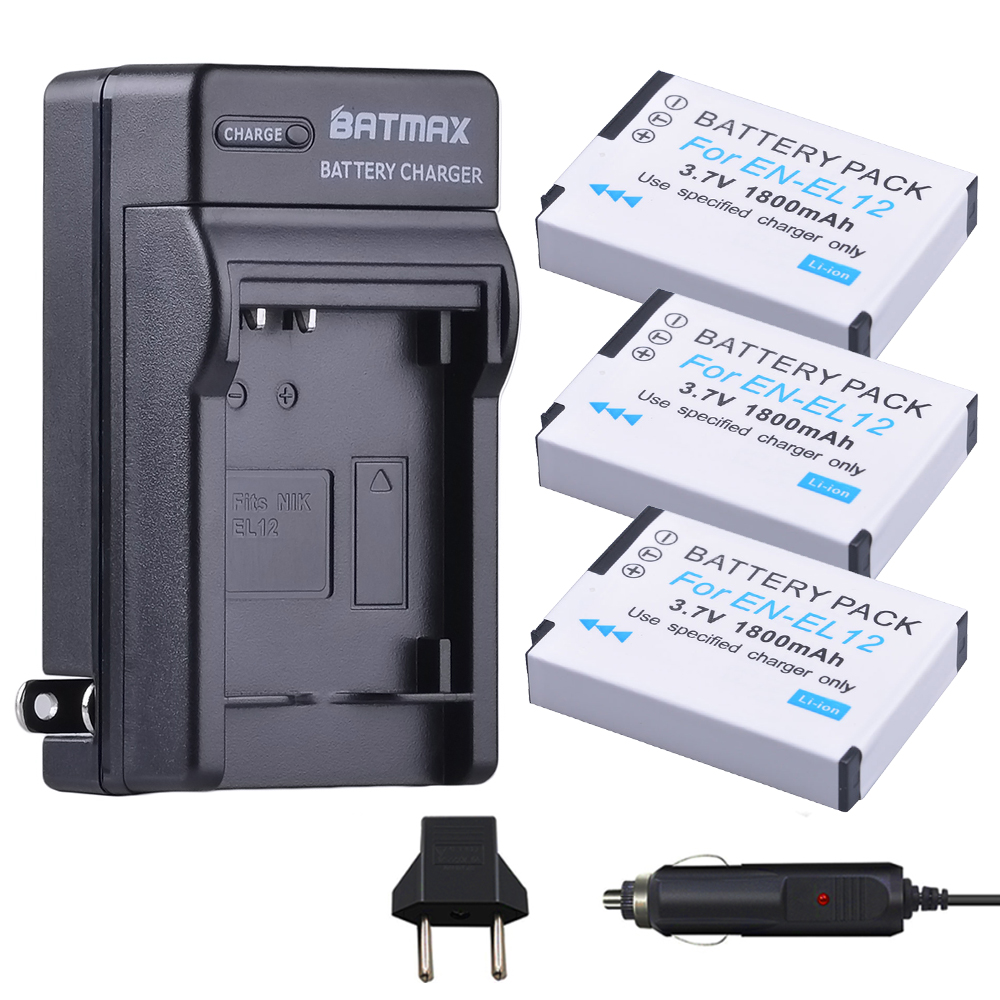 цена на 3Packs of EN-EL12 Batteries + Battery Charger Kits for Nikon Coolpix A900, AW100, AW110, AW120, AW130, S31, S800C, S6100, S6200