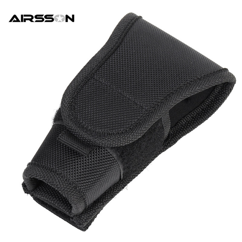 Tactical Big Head Molle Nylon Portable Flashlight Pouch Outdoor Sports Tool Lightweight Durable Electronic Torch Holster Carrier
