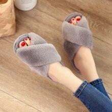 2018 New Womens Fur Slippers Winter Shoes Casual Flip Flop Sandal Female Home Slipper Plush Fashion Slip On Fluffy Faux Flat