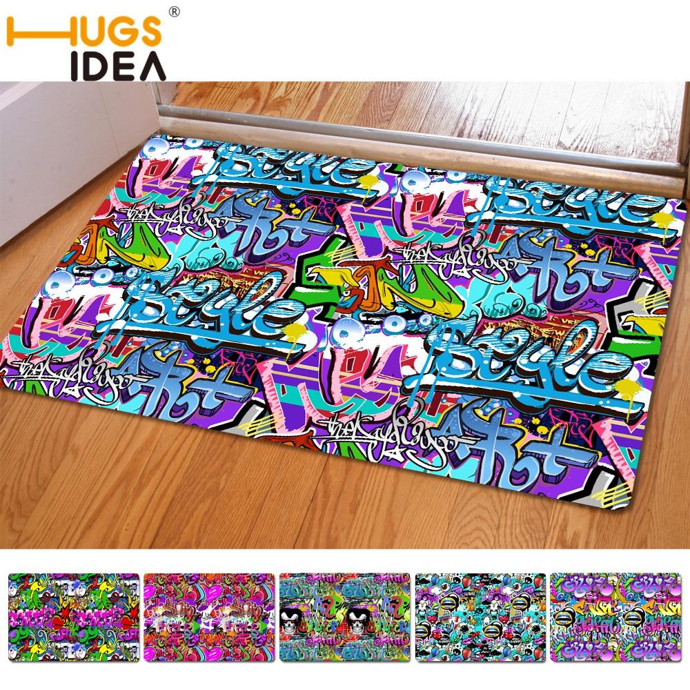 Street Fashion Style  Graffiti Floor Rug Carpet Bedroom Doormat Non-slip Mat