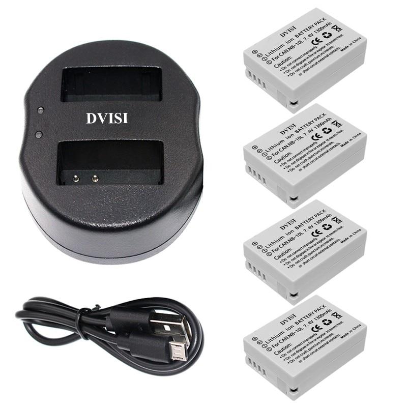 4pcs NB 10L NB10L Rechargeable Camera Battery with USB Dual Charger for Canon G1X G15 G16 SX40HS SX50HS SX60HS SX40 SX50 SX60 HS
