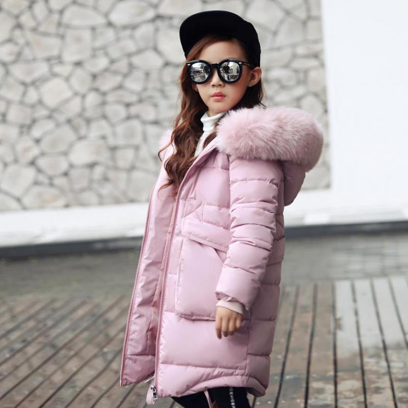 2017 New Children's Outerwear Girls Winter Warm Hooded Coat Children Clothing Cotton-padded Kid Clothes Jackets Black Pink Coats boy winter coats hot sales children clothing thickening hooded cotton jackets fashion warm baby boy coats clothes outerwear kids