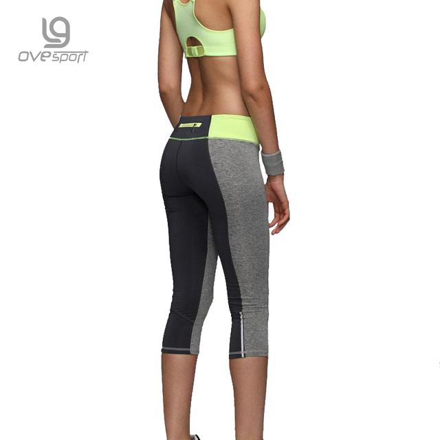 Women Sexy Zipper Pocket Leggings Fitness Capri Pants Reflective Leggins Slim Women's Workout Trousers Quick-dry Activewear 1025