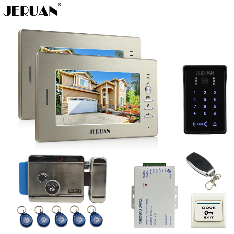 JERUAN wired 7`` LCD video doorphone intercom system 2 monitor RFID waterproof Touch Key password keypad camera+remote control rfid keyboard ip65 waterproof video doorphone intercom system for 3 apartments with 7 color lcd video intercom system in stock