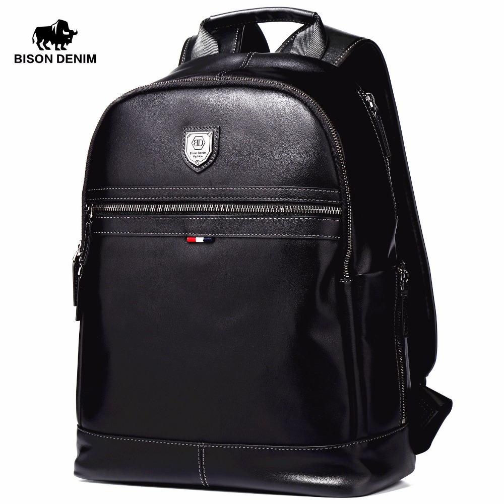 BISON DENIM Fashion Business Travel Backpack Inch Laptop Backpacks For Men Genuine