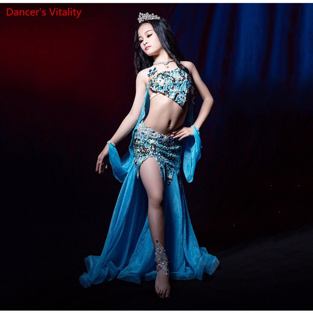 Professional Custom Made NEW Belly Dance For Children 3PCS Belly Dance Spandex  Costume Set Dress For Girl /Women Dance Costume