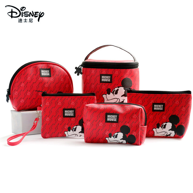 Disney Minnie Mouse portable cosmetic make up bag multi-purpose storage coin cartoon purse handbag Mickey Mouse Makeup PU