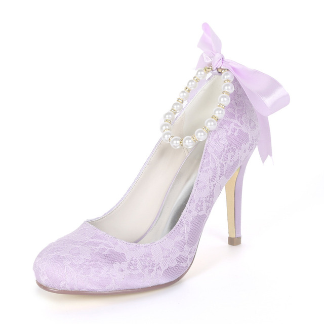16a5964da9 US $40.05 10% OFF|Creativesugar lace evening dress shoes rounded toe slip  on lady heels pearl ribbon ankle strap bridal wedding party prom pumps-in  ...