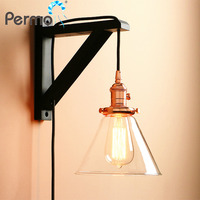 Permo Modern Handmade Wooden Lamp Hook Wall Sconce Light Vintage Funnel Glass Wall Lamp With Wood Stand Lights Fixture wandlamp