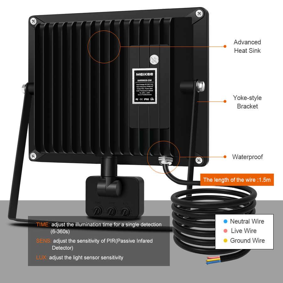 10 Вт 20 Вт 30 Вт 50 Вт светодиодный прожектор датчик движения водонепроницаемый AC110-220V со светодиодом, яркий свет отражатель проектор Открытый прожектор