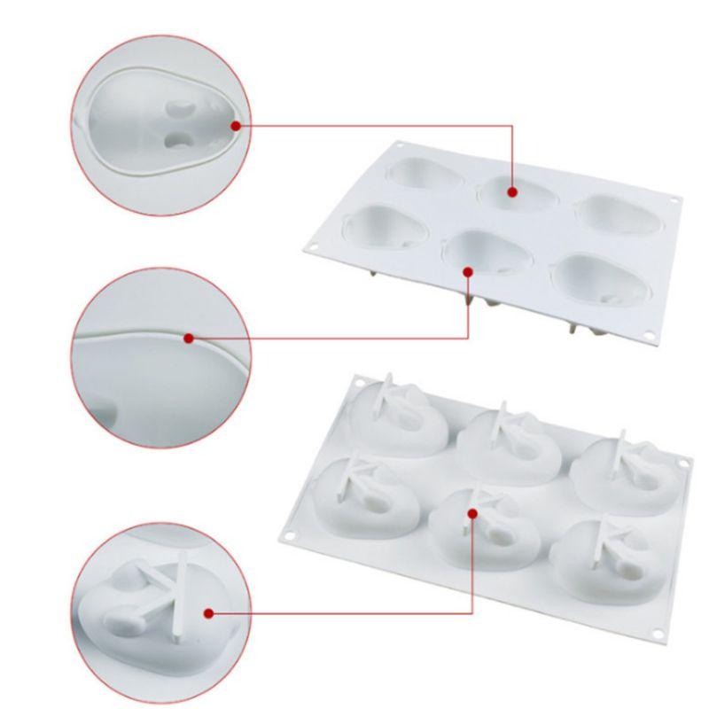 6-Полость DIY 3D Пасхальный кролик с маленьким кроликом Форма силиконовая форма для выпечки в форме цветка шоколадные трюфели мусс пресс-форм производителя фаст-фуд украшения
