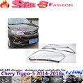 Chery Tiggo 5 2014 2015 2016 car styling cuerpo cabeza frente detector de luz de lámpara marco palo estilo ABS Chrome ajuste de la cubierta 2 unids