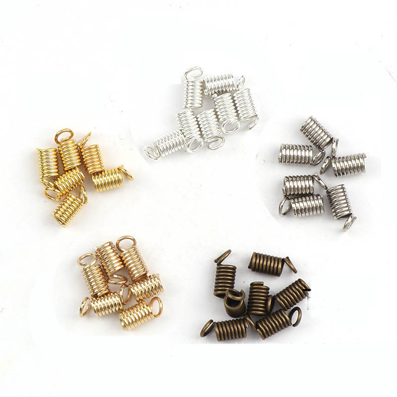 100pcs 4x10mm Spring Crimp Fastener Connector Gold Silver Findings Clasps For DIY Jewelry Making Fit Necklace Bracelet Cord Rope