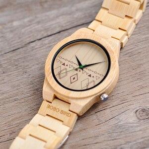 Image 4 - Relogio masculino BOBO kuş erkekler saatler bambu ahşap saatler kuvars kol saatleri ahşap kutu kabul Logo damla nakliye