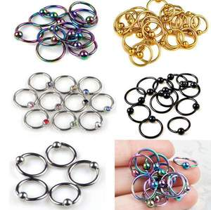 10pcs Stainless Steel Captive Bead Hoop Ring Nose Ball Body Piercing Jewellery(China)