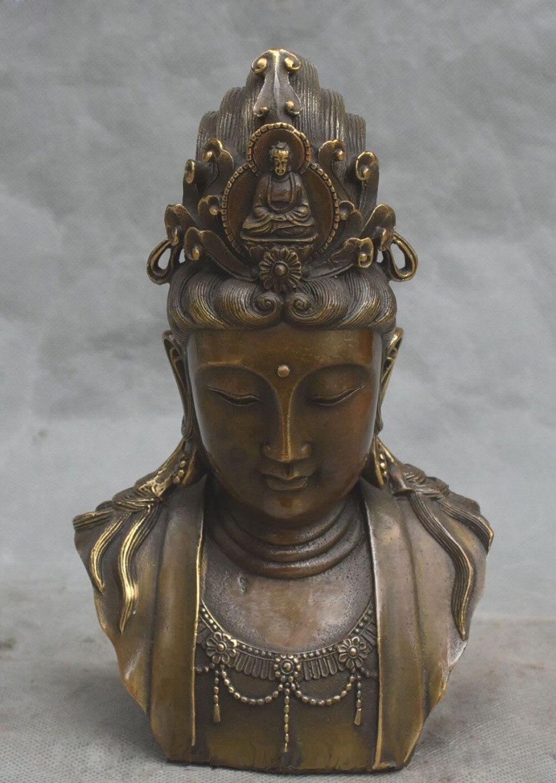 8 отмеченная китайская бронза Kwan yin Guan Гуаньинь голова бюст статуэтку богини