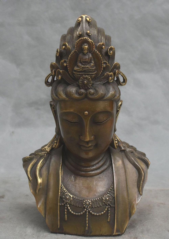 8 Marked China Bronze Kwan-yin Guan Quan Yin Guanyin Head Bust Goddess Statue8 Marked China Bronze Kwan-yin Guan Quan Yin Guanyin Head Bust Goddess Statue