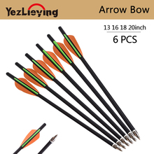 6PCS13/16/18/20 Inch Crossbow Bolt Carbon Arrow Orange Green Feather Replaceable for Recurve Bow Archery Hunting