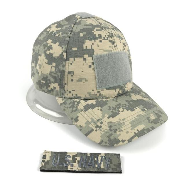 Xongkoro Men Camouflage Tactical Cap With 1pcs Custom Patch Male Baseball  Caps US Navy Badge Name Emblem CS Combat Army Hat ACU ad83a3886