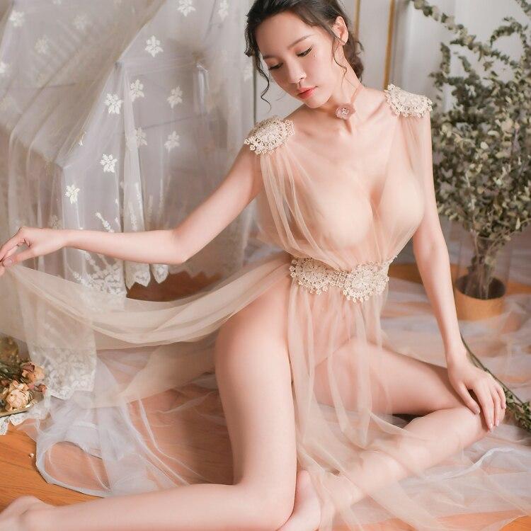 Sexy Lingerie Elegant Women New Ultrathin Gauze Sheer Homewear Long Dress Vintage Nightgowns Night Sleepwear Intimates