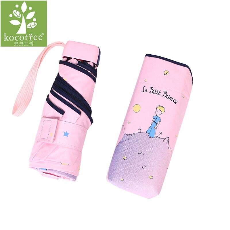 Kocotree Cartoon Principito Paraguas lluvia mujeres plegable Paraguas Parasol femenino soleado lindo Paraguas Mini Paraguas de bolsillo