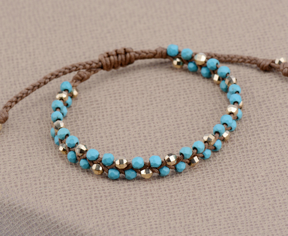 Semi Precious Stone Gold Beads Braided Friendship Bracelets Beading Bohemian String Woven Bracelet Beads Jewelry Dropshipping