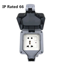 IP66  Waterproof Outdoor Wall Power Socket 10A EU/UK/US/AU Standard Universal 5 Hole Switched Outlet  Electrical Outlet Grounde atlantic 3 color 3 pins hole eu uk universal sokcet crystal tempered glass 10a multifuncational universal wall socket big sale