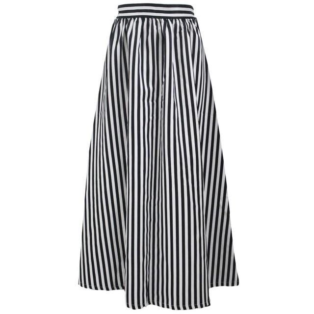 1144c4d5a5b9cf FGirl vrouwen Rok Zon Amerikaanse Kleding Rokken Zwart Wit Strepen  Volwassen Maxi Rok FG41680
