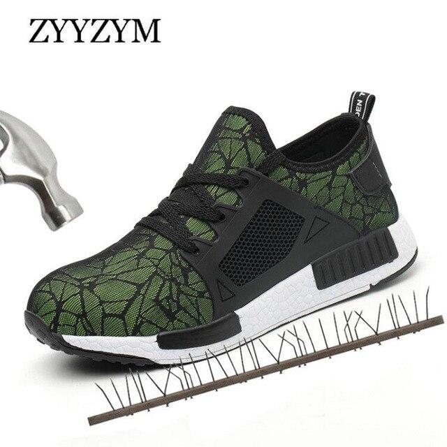 ZYYZYM 男性作業安全靴換気プラスサイズ屋外鋼つま先パンク証拠保護男性安全靴ライトスニーカー