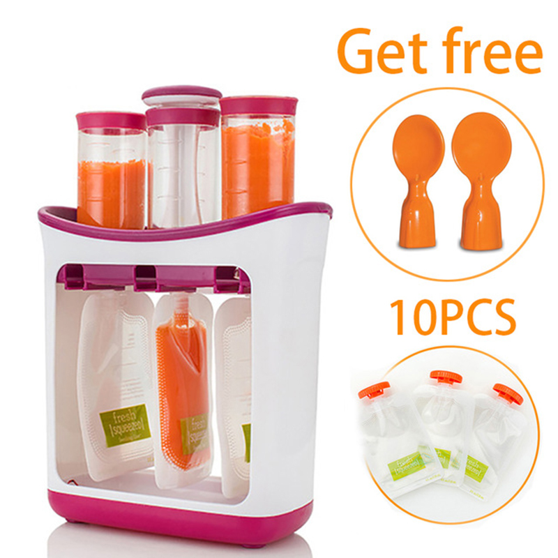 baby-food-maker-baby-feeding-containers-storage-supplies-newborn-toddler-solid-juice-maker-with-10-pouches-squeez-storage-bag