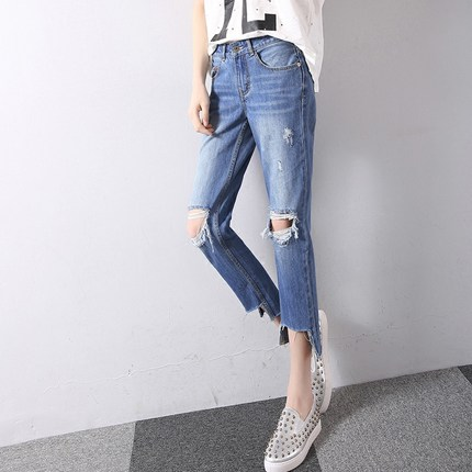 Big hole in the knee loose casual trousers frayed denim small straight jeans female tide Cropped