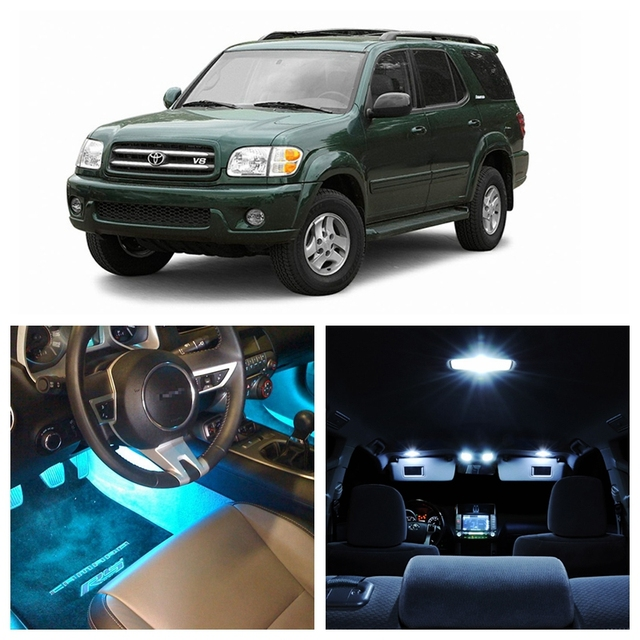 Toyota Sequoia Windshield Replacement Cost: 16Pcs Ice Blue Bulbs White LED Lights Interior Package Kit