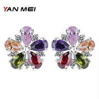 YAN MEI Heißer Verkauf Neue Stil Blume Form Bunte Zirkonia Silber Überzogene Stud Ohrringe für Frau Zubehör YME0141