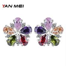 YAN MEI Sıcak Satış Yeni Stil Çiçek Şekli Renkli Kübik Zirkonya Gümüş kaplama top küpe Kadın Aksesuarları için YME0141