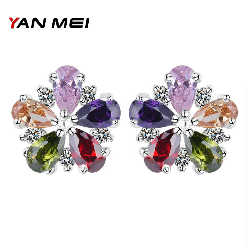 YAN MEI Hot Sale New Style Flower Shape Colorful Cubic Zirconia Silver Plated Stud Earrings for Woman Accessories YME0141