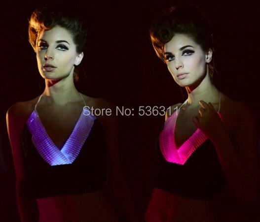 Мода v шеи женщины Сексуальное вела танцевальный костюм V шеи короткий топ световой одежда женщины футболка топ привело костюмы волокна-оптический