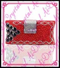 Aidocrystal Neueste trendy lady roten abendkleid party luxus clutch perle tasche