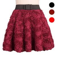 2017 fashion Vintage Casual Plate 3d three dimensional Rose Lace Short Bitter Tutu Short Skirt / Red black Sun mini short Skirt