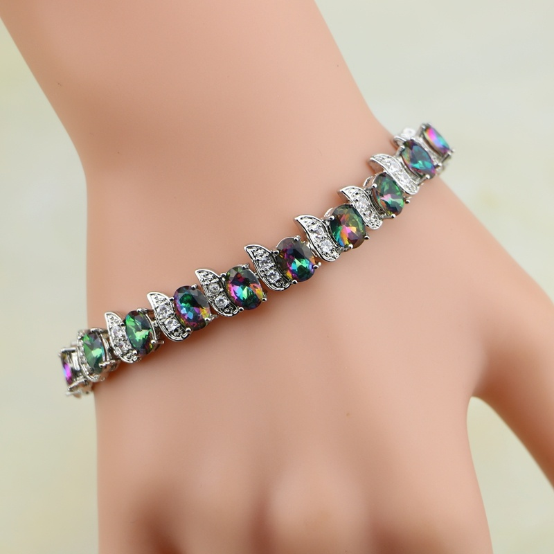 Bracelets For Charms: Rainbow Mystic Cubic Zirconia White Crystal 925 Sterling